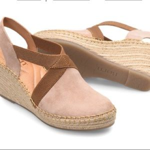 Born Meade sandals wedge tan and pink size 5